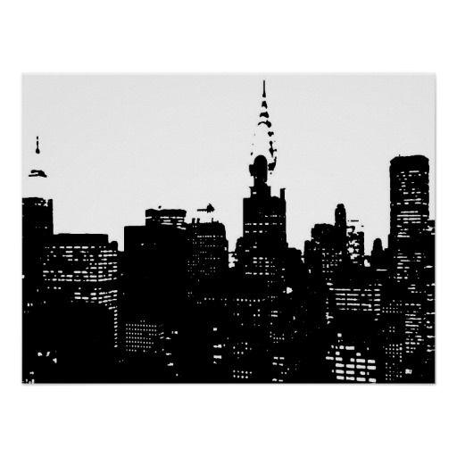 Black white new york city pop art poster