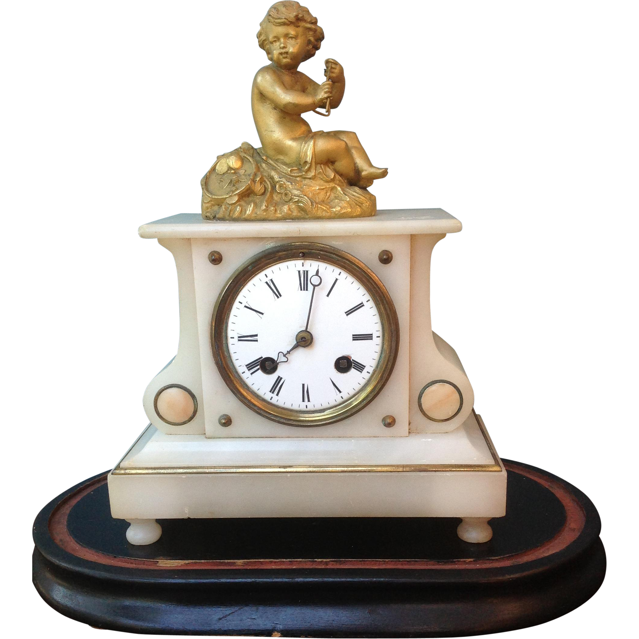 ClockCjamp; Alabaster White Antique French CoGilt Mantel dQrxshtC
