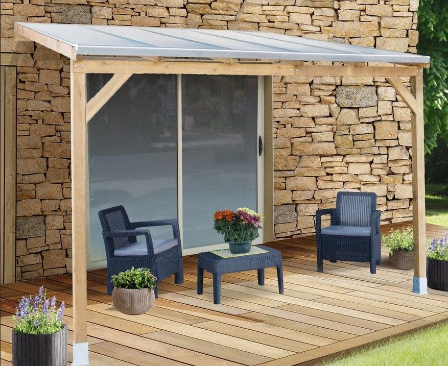 Pergola adossée bois traité toiture polycarbonate 3x3 m | bricolage ...