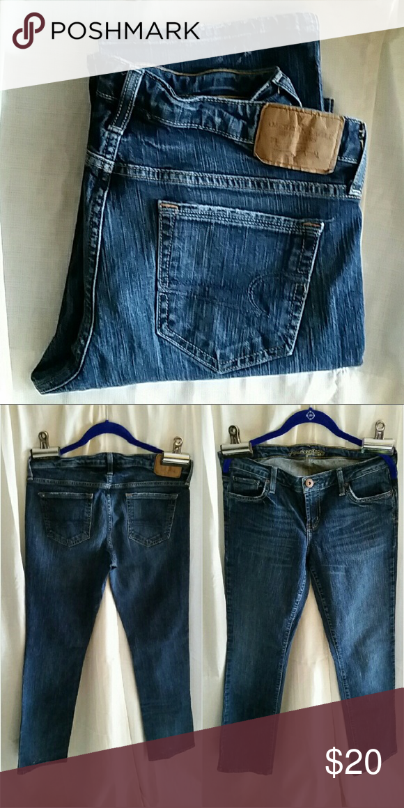 American Eagle straight 77 (#12) These are lightly worn American Eagle jeans. Straight 77, size 10 regular inseam which measures about 31 inches. There are no holes, rips or stains on fabric. Smoke free home. American Eagle Outfitters Jeans