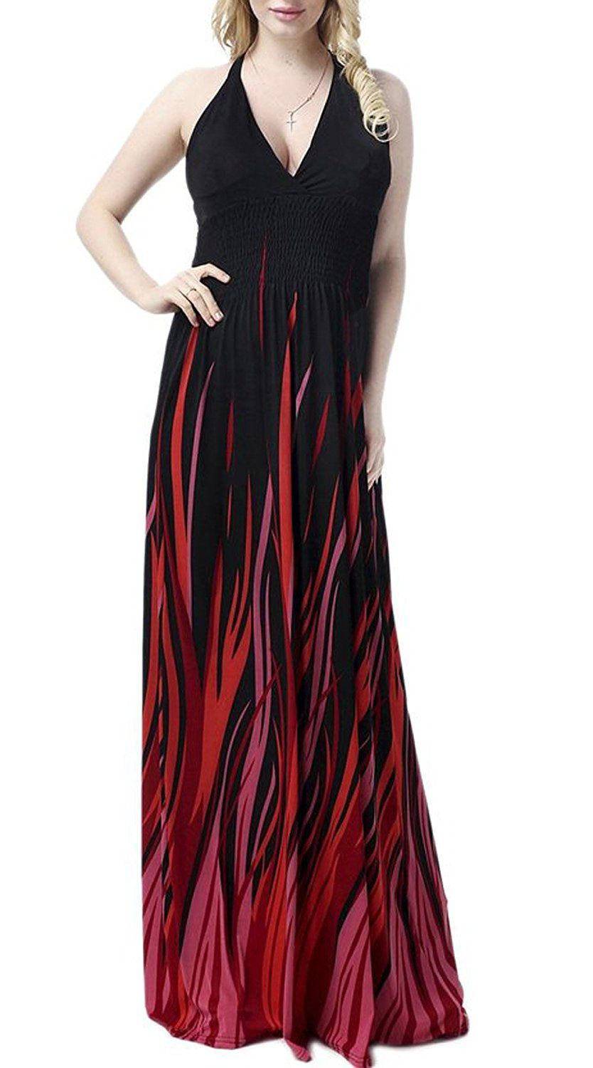 Jusfitsu Women's Deap V-neck Strappy Sexy Maxi Dress Evening Gown Plus Size *** For more information, visit now : Plus size dresses