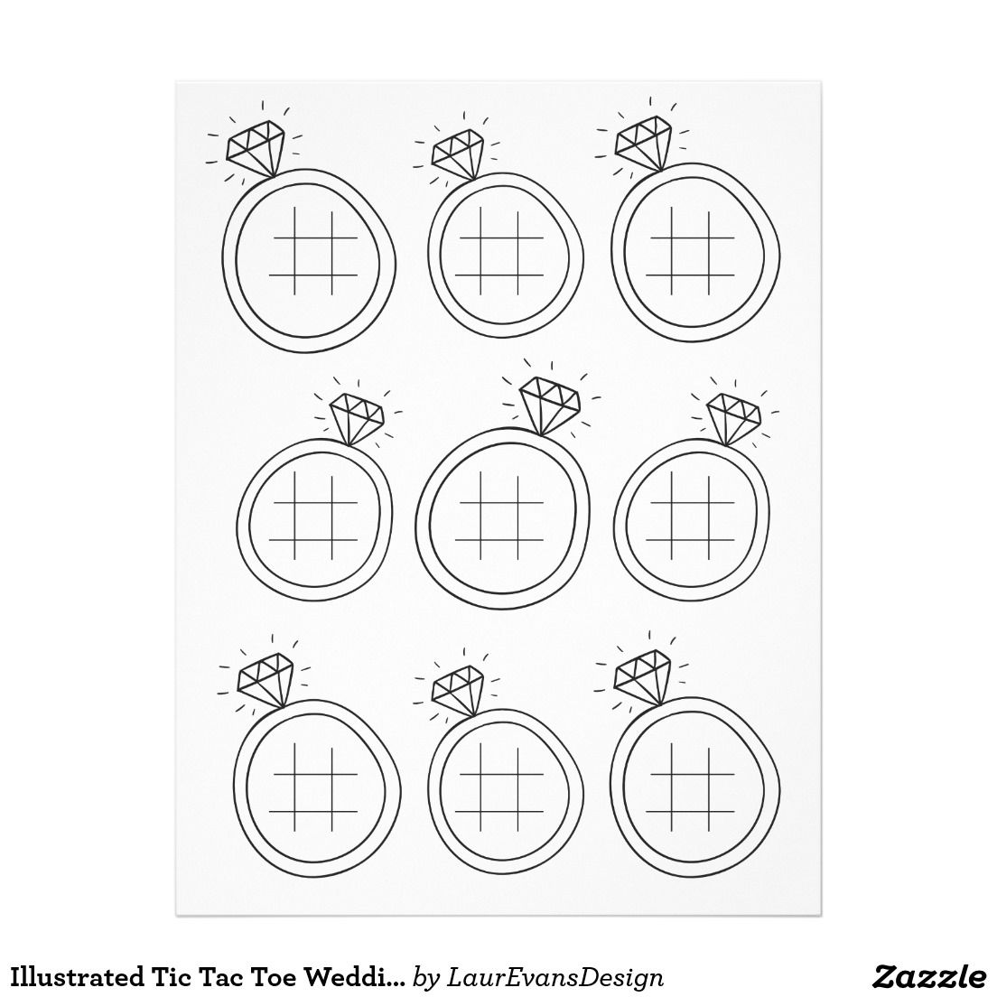 Illustrated Tic Tac Toe Wedding Activity Page  Wedding Bridal