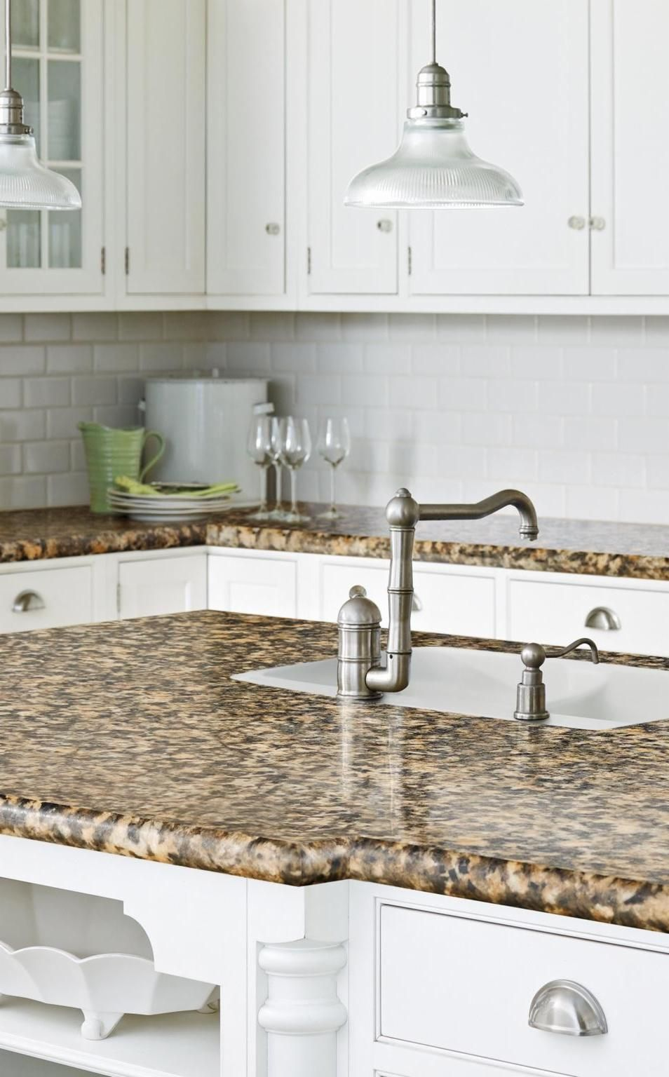 Give a #white #kitchen some visual texture with a #subway ... on Backsplash For Black Granite Countertops And Brown Cabinets  id=74210