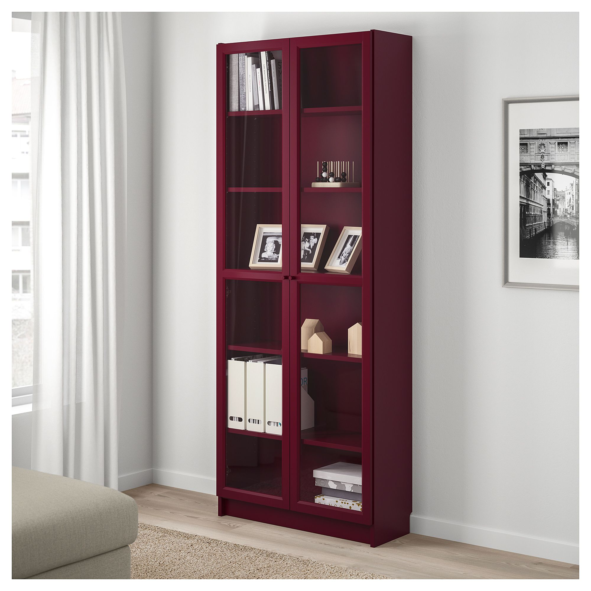 Billy Bookcase With Glass Doors Dark Red Ikea Bookcase With Glass Doors Cheap Living Room Furniture Billy Bookcase