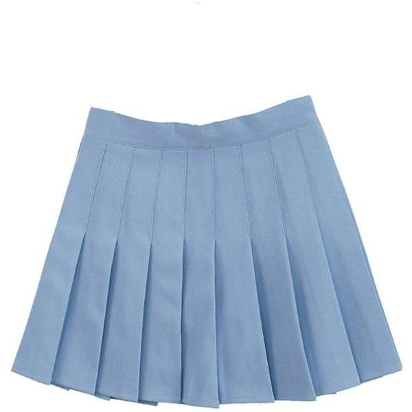 d1b47700ee Women School Uniforms plaid Pleated Mini Skirt ($14) ❤ liked on Polyvore  featuring skirts, mini skirts, blue, pleated skirt, plaid pleated skirts,  blue ...