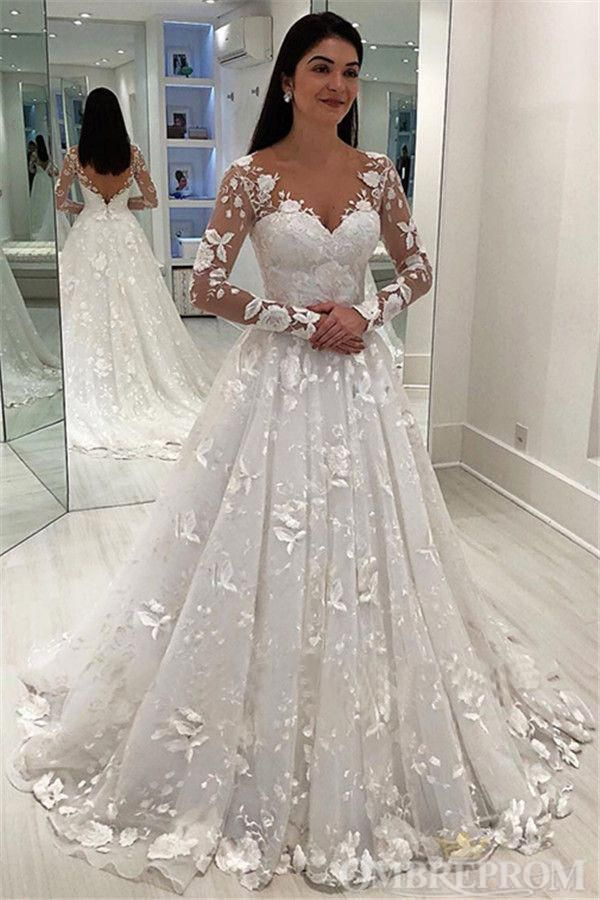 Gorgeous Long Sleeves V Neck Lace Classy Bridal Gowns Ivory Backless Modest Wedding Dresses W578 Wedding Dress Sleeves Wedding Dresses Lace Online Wedding Dress