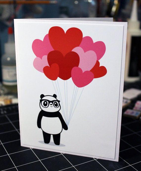 Nerdy Panda Heart Balloons Valentine's Greeting Card DIY Panda gifts, Valentine greeting