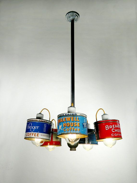 Old Coffee Can Chandelier Light Fixture Tis Is Really Cool And Would Be Terrific In A Little General Store Or Shop