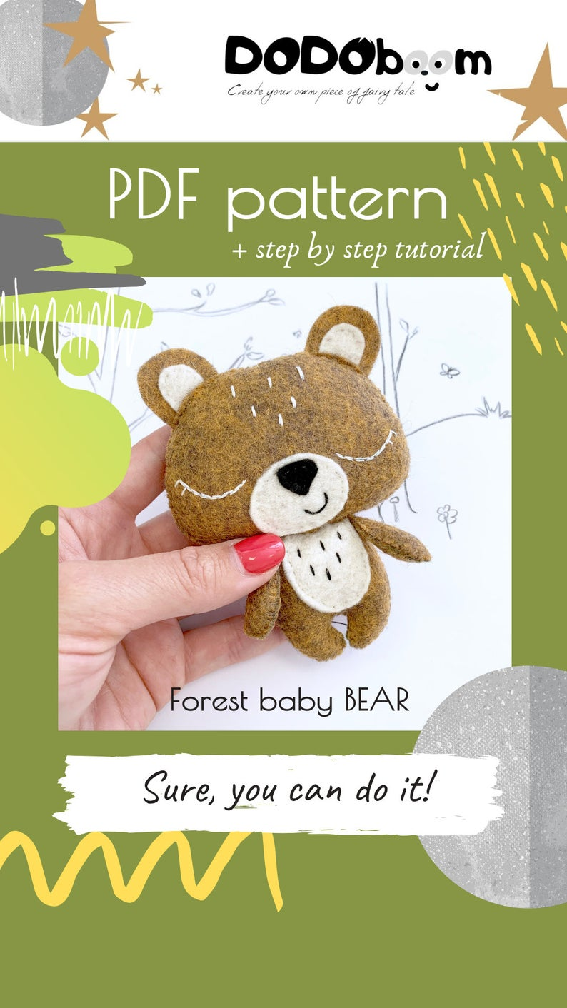 Felt bear pattern, felt bear diy, felt bear pdf, felt woodland toy pattern, felt animal pattern, bear sewing pattern, bear hand sewing, DIY #instructionstodollpatterns