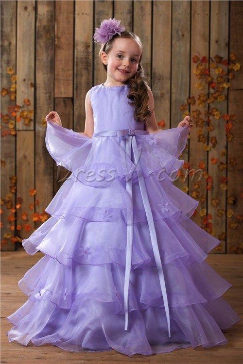 83.59 dressv.com SUPPLIES Lovely A-Line Scoop Floor-length Tiered Flower Girl Dress 5335