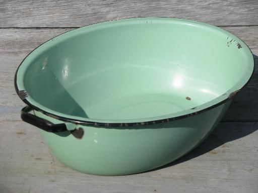 jadite green vintage enamelware big old primitive wash tub oval dish pan