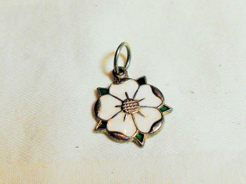 Sterling Flower charm, white enamel,  D & F English silver charm, small flower pendant, gift for her, jewelry supplies, GIngerslittlegems by GingersLittleGems on Etsy