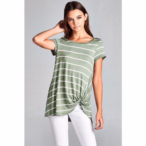 Striped Short Sleeve Twist Tee Sage