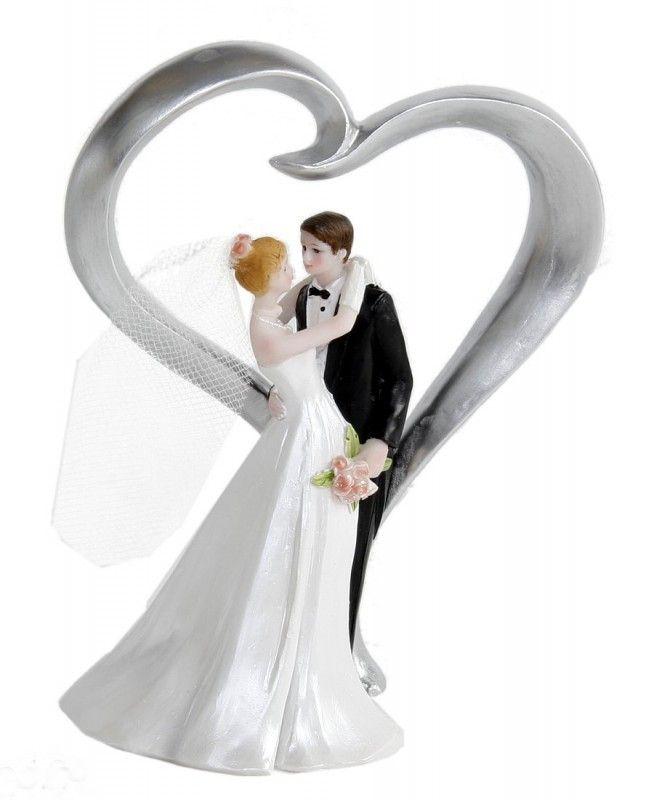 Figur Zierfigur Tortenfigur BRAUTPAAR HERZ Hochzeit Hochzeitstorte 13 cm  Tortenfiguren  Herz