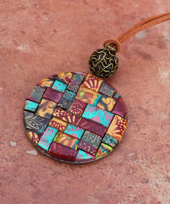 Heart multi colour polymer clay pendant Christmas gift Fashion statement Chunky pendant Teens Birthday gift Bohemian pendant