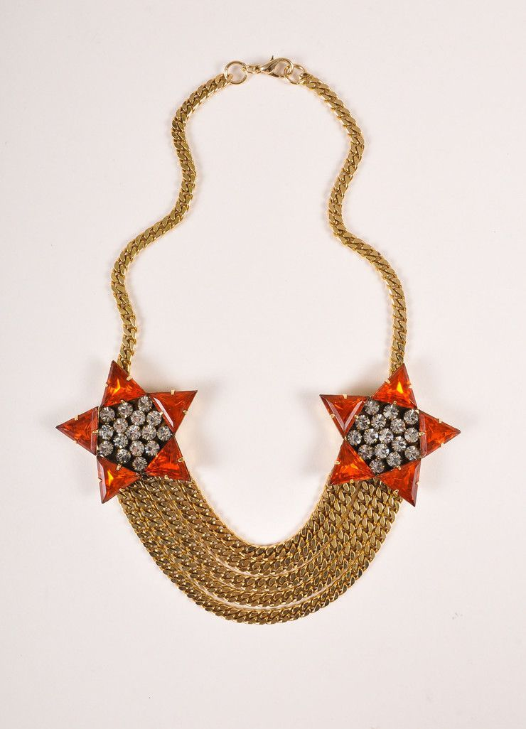 Gold Toned and Orange Glass Star Chain Link Necklace