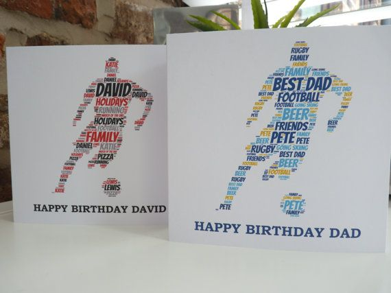 Personalised Footballer Card Birthday Football For Dad Husband