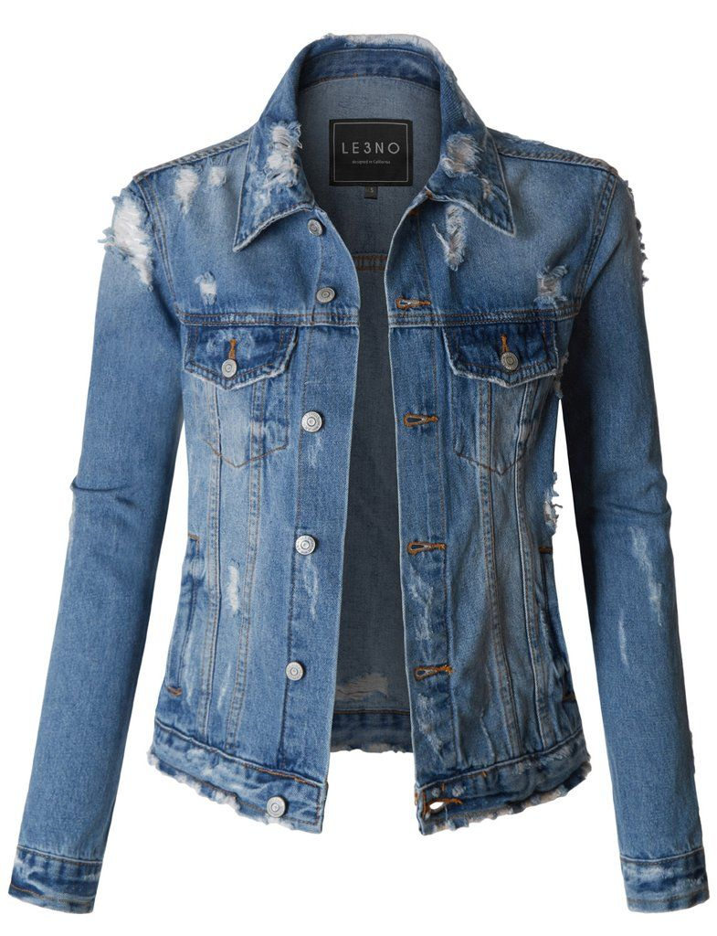 Le3no Womens Vintage Washed Long Sleeve Ripped Distressed Denim Jacket Distressed Denim Jacket Denim Jacket Sleeveless Puffer [ 1024 x 785 Pixel ]