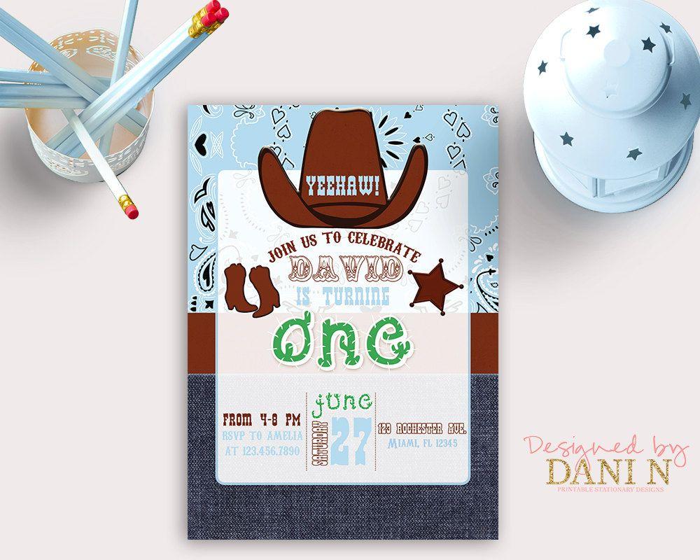 Cowboy First Birthday Invitation, Western Boy party invite, blue ...
