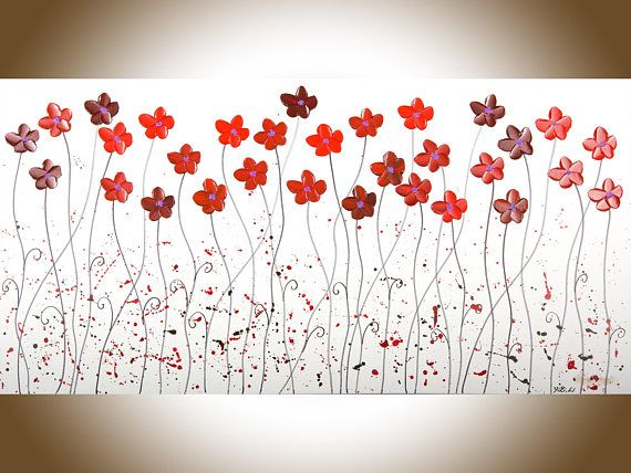 Red White Black painting large wall art home decor wall decor Wall