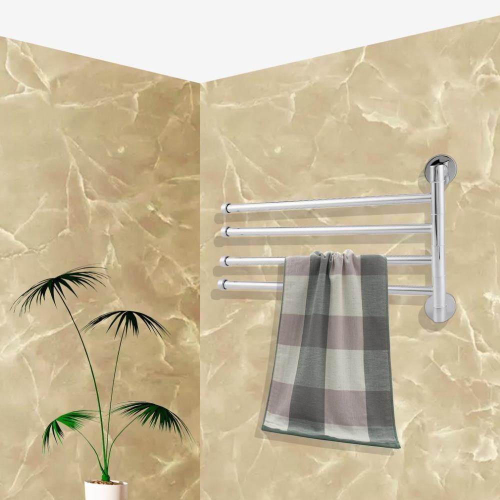 Stainless Steel Towel Rack Holder 4 Rotating Towel Bar Bathroom ...