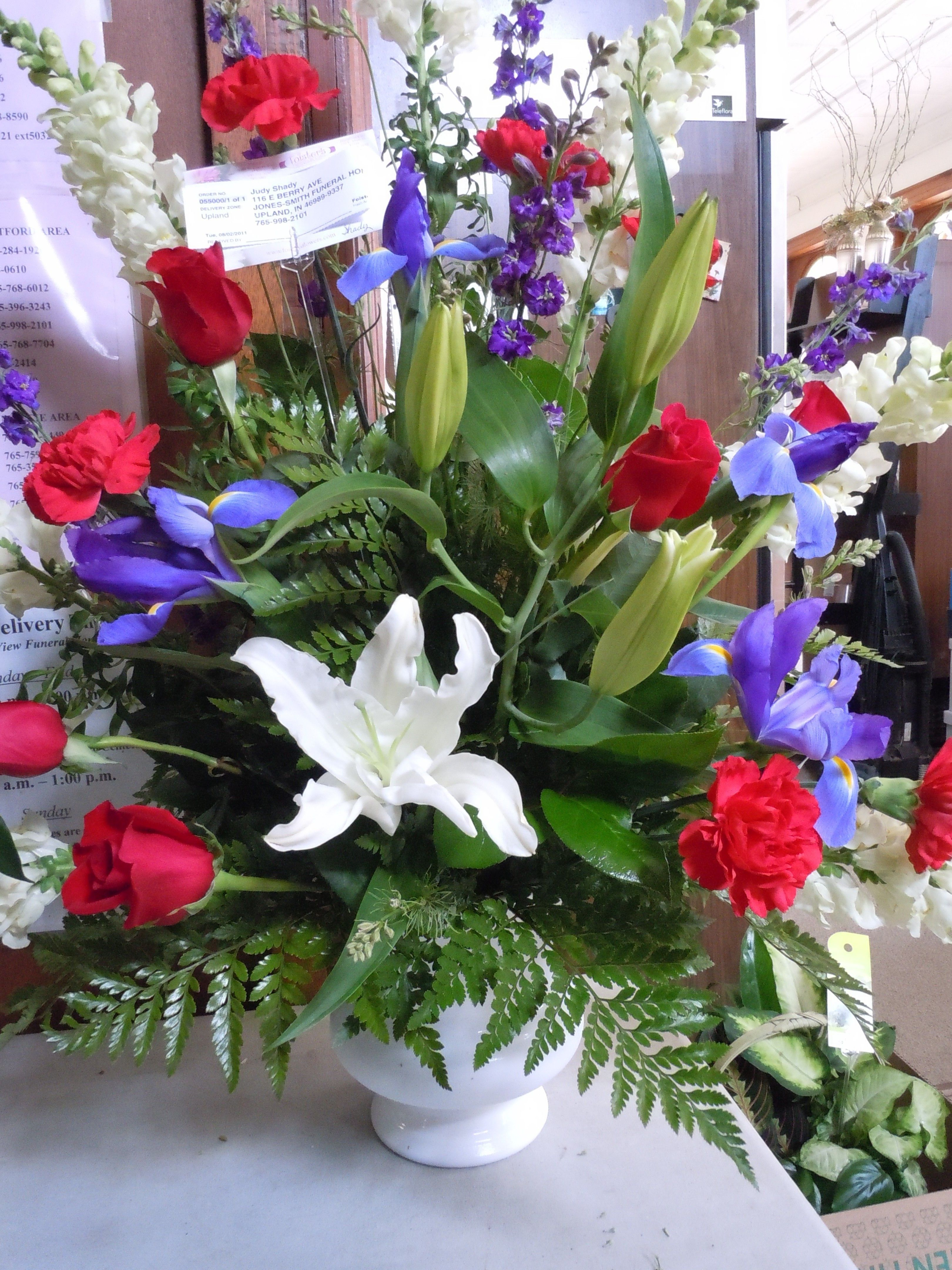 Red, White, and, Blue Funeral Arrangement