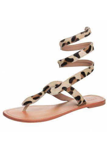 e5c277ddb24 Aspiga Cobra Leopard Ankle Wrap Toe Post Flat Sandal
