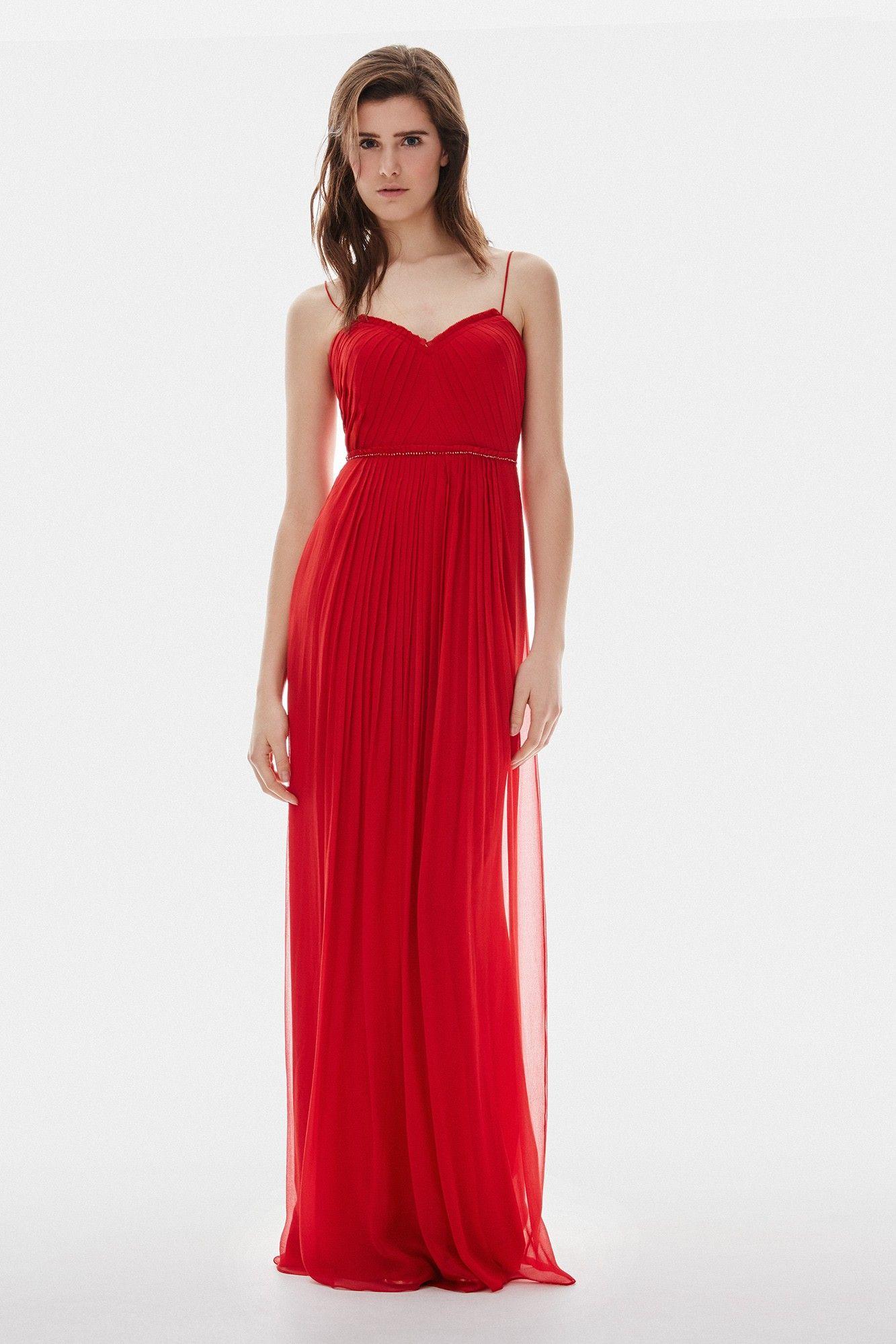 ed839f59e Vestido rojo de seda con corte imperio