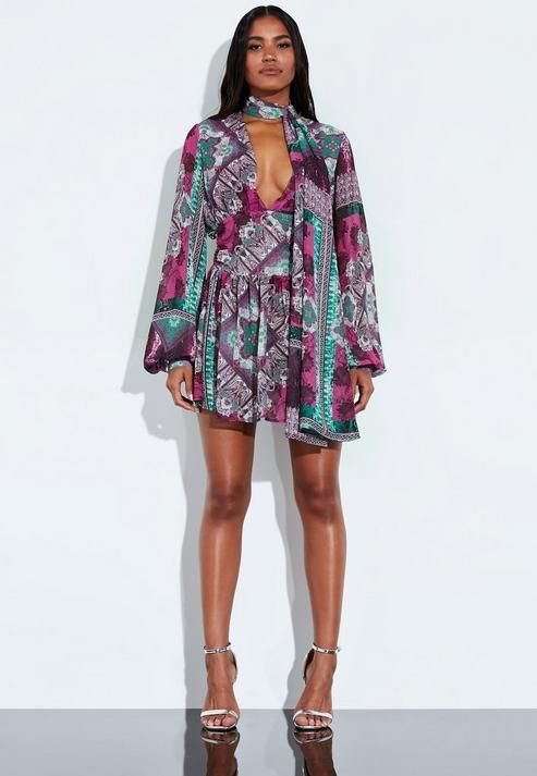 Missguided - Peace + Love Pink Printed Balloon Sleeve Tie Romper