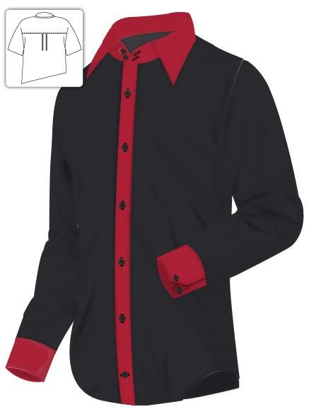 Black Dress Shirt with Red Contrast cotton - 2 button high collar ...