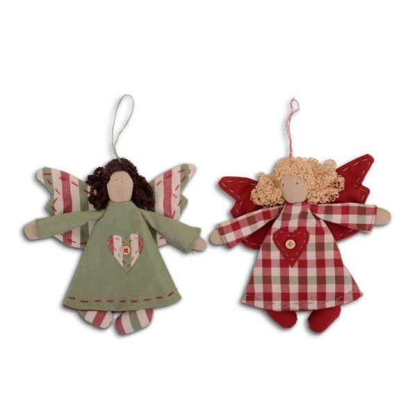 Handmade Hanging Fabric Christmas Angel Tree Decoration Heart & Button De...