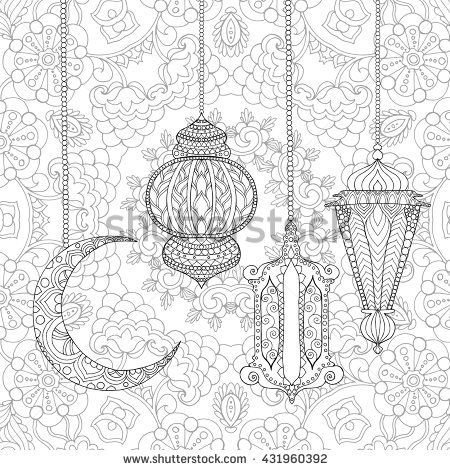 Ramadan Kareem Greeting Design Coloring Page Engraved Vector