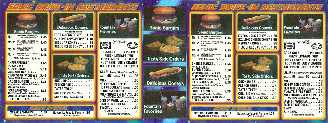 Sonic menu from 1980 A Blast From the Past Fast food menu