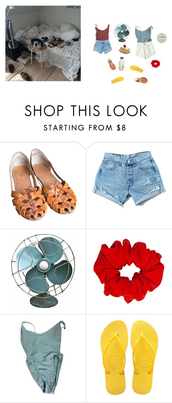 """""""Sharing the Fan"""" by jupiter-geese ❤ liked on Polyvore featuring Urban Outfitters, American Apparel and Havaianas"""