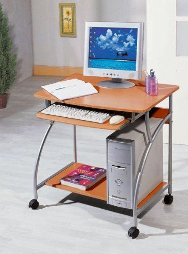 Computer Desk On Wheels Cherry Top Finish Silver Frame W Cpu Stand By The Green Group 99 99 Hooded Double Wheel Locking Cas Desk Computer Desk Cheap Desk