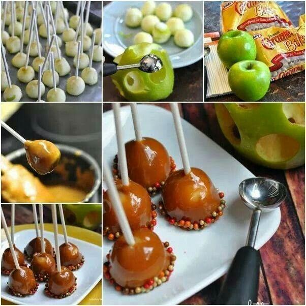 Bolitas de manzana acarameladas