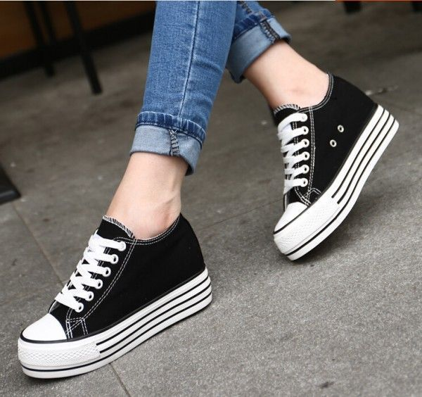 f95c164c7d3602 Classic Womens Canvas Lace Up Hidden Wedge Sneakers Low-Top Casual Creeper  Shoes