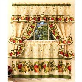 Superior Floral Kitchen Curtains   Floral Curtains   Flower Print Tiers   Apple  Orchard 5 Piece Cottage