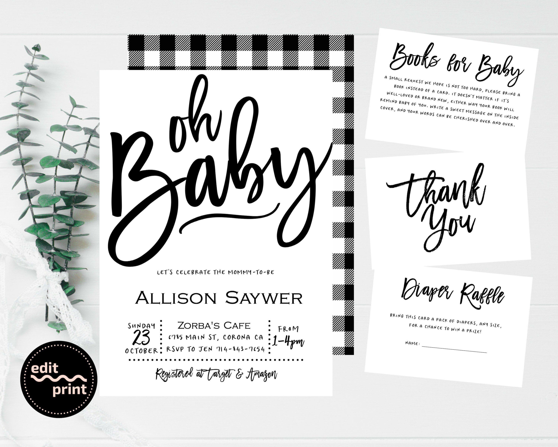 Contemporary Baby Shower Invites ZARA Modern Baby Shower Invitation Template Set Minimalist Baby Shower Invitation Diaper Raffle /& Books