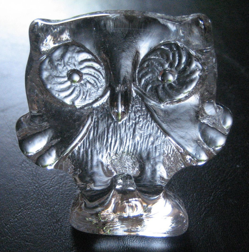 Vintage Kosta Boda Crystal Owl Figurine Statue Paperweight Gr8 Collector Gift Ebay Collector Gifts Crystal Paperweight Statue
