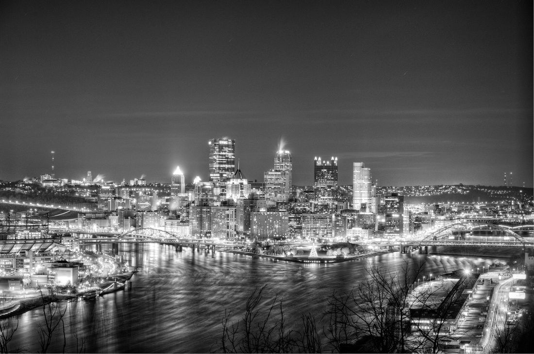 Pittsburgh from the West End Overlook in B Pittsburgh from the West End Overlook in B HDR    One of the great things about Pittsburgh is that you can get a great view of the city from just about everywhere. This is the view from the West End Overlook, looking towards the Point in downtown. This is a view on a cold night in B.