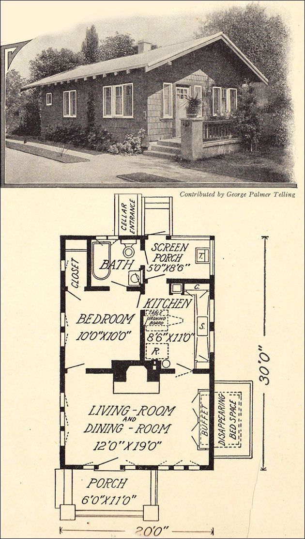 1914 Tiny Cottage Bungalow 600 sq ft George Palmer Telling Old house plans for small homes