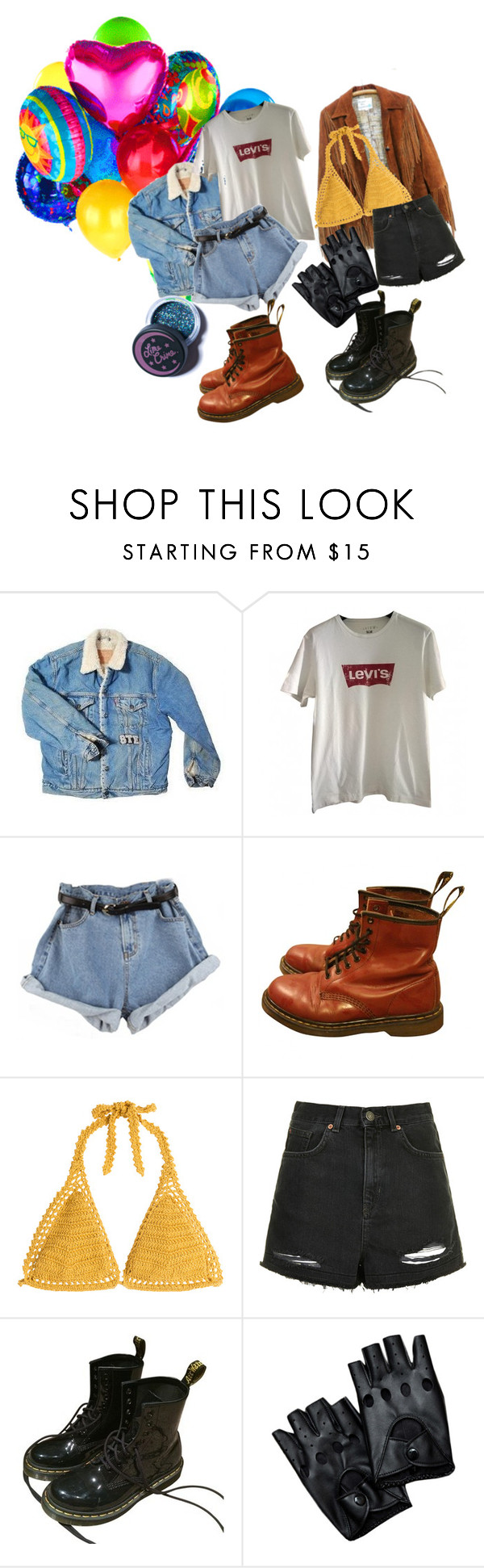 """""""we're here, we're queer, we're really not confused"""" by brownbxtchpinkwitch ❤ liked on Polyvore featuring Levi's, Dr. Martens, SHE MADE ME, Topshop and Lime Crime"""