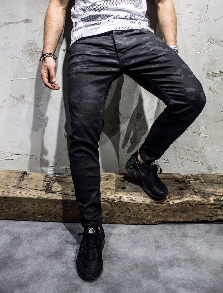P&V Men Slim Fit Thin Subtle Camo Jeans - Black | Camo jeans
