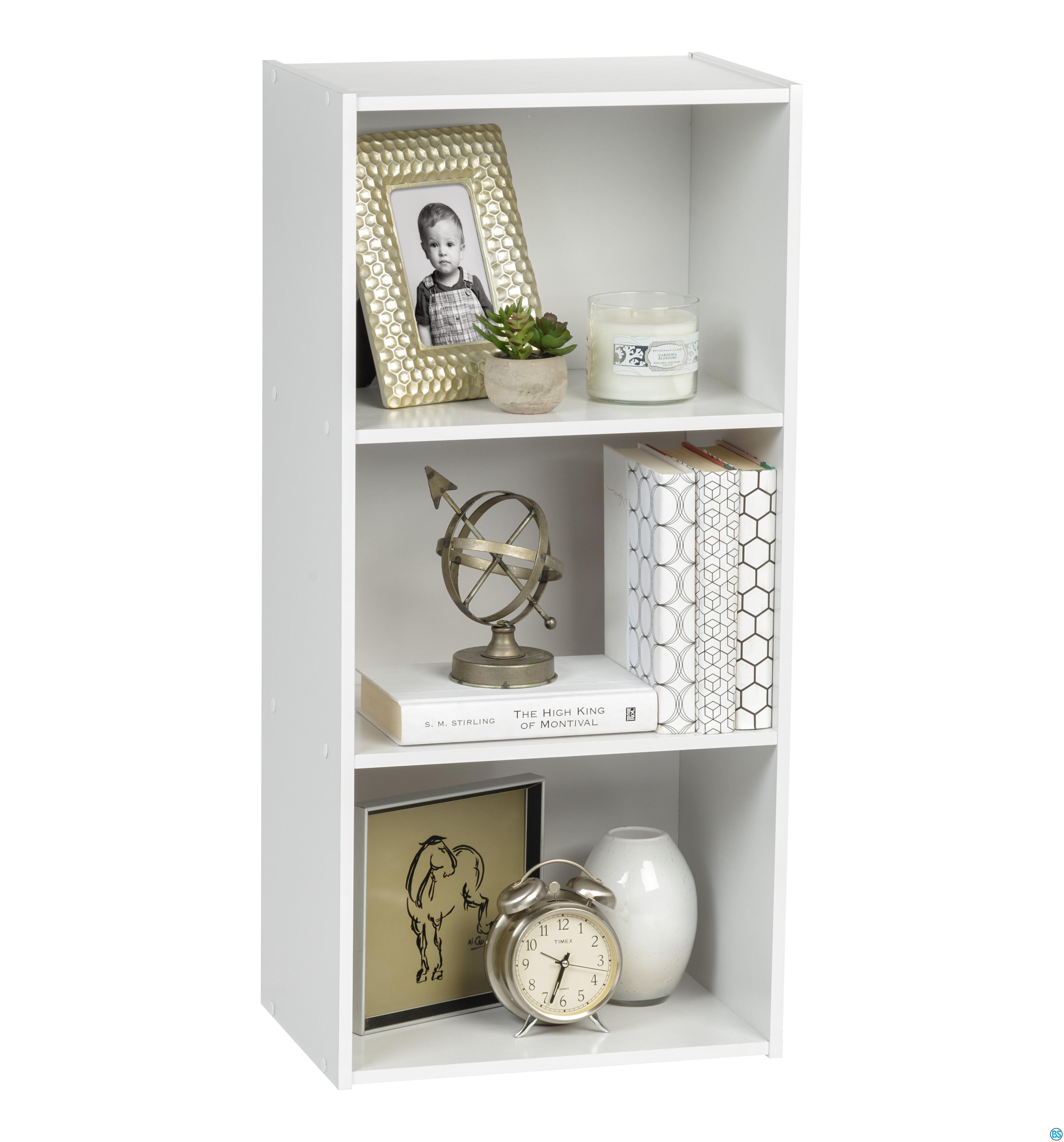 Iris Usa 3 Tier Wood Bookshelf White In 2020 Wood Bookshelves Wood Storage Shelves Small Bookshelf