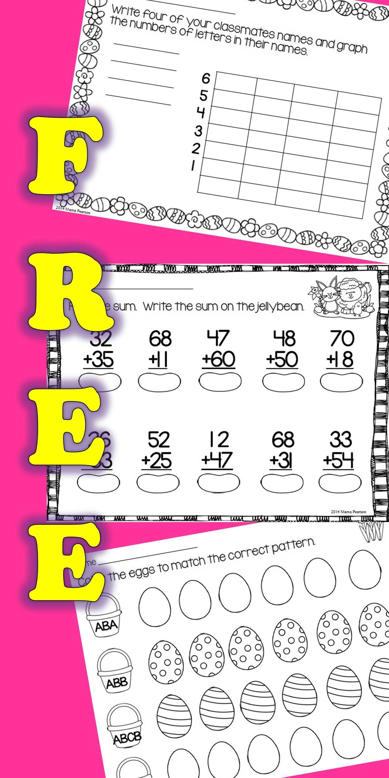 Free Easter No Prep Math Printables Homeschool Math Math Classroom Teaching Math
