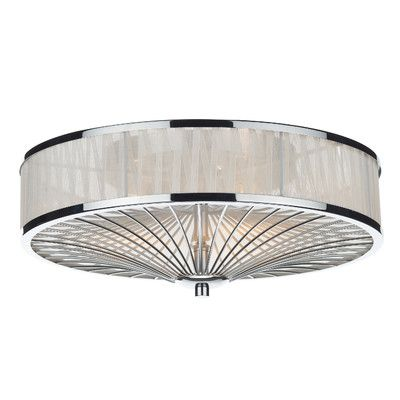Dar lighting oslo 3 light flush ceiling fitting in polished chrome with ivory ribbon dar lighting from castlegate lights uk
