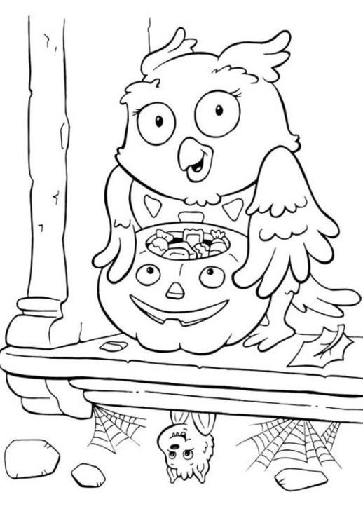 Owl And Bat Coloring Pages Printable For Halloween Halloween Coloring Pages Halloween Coloring Pictures Halloween Coloring