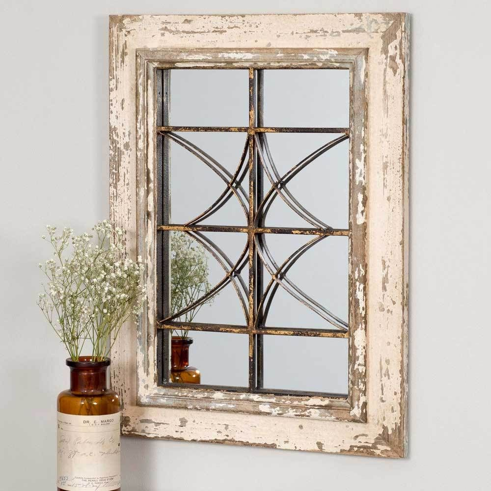 Shabby Farmhouse Windsor Wall Mirror is part of Ikea Living Room Mirror - This Beautiful Shabby Farmhouse Windsor Wall Mirror hangs with Dring hangers  A wonderful touch of Shabby Chic to your home or office decor  This gorgeous piece is vintage Paris style with accents of metal with a distressed wooden frame  Dimensions  16  x 2½  x 22