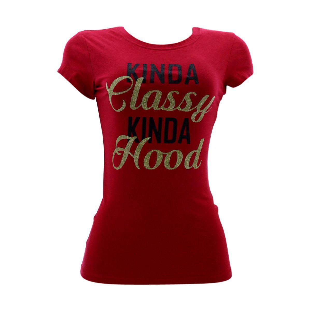 3 Forty - Women's Foil Kinda Classy Kinda Hood T-Shirt - Red/Gold